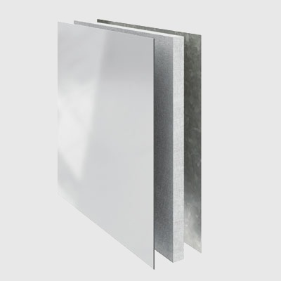 PolyVision a3 CeramicSteel Standard Panel made with a cement-bonded particle board and a galvanized steel backer