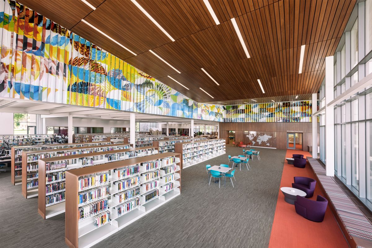 Sectio Aurea, a lenticular mural printed on PolyVision Flexible 4 CeramicSteel panels and displayed in Hennepin County Library