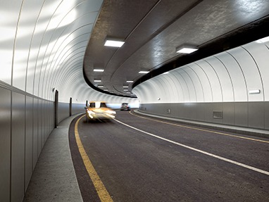 Rendering of PolyVision CeramicSteel Flexible Panels in a Road Tunnel