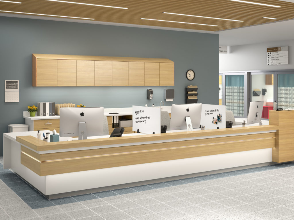 Modern nurses station with privacy dividers for personal boundaries