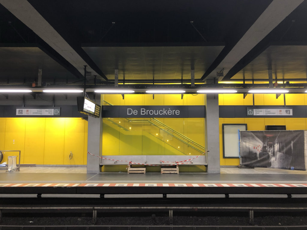 Pedestrian walkway at De Brouckère Station in Brussels, Belgium