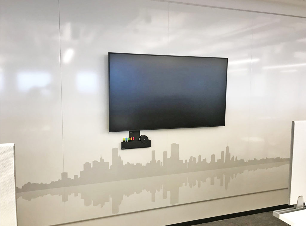 Wall writing surface with custom printed Chicago skyline